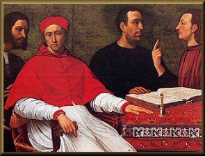 César Borgia en noir à gauche. Nicolas Machiavel en noir au centre.