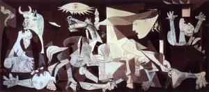 Picasso démontre ici les horreurs de la guerre civile espagnole. Cette toile peut maintenant être perçue comme une scène originaire de l'État Espagnol moderne.